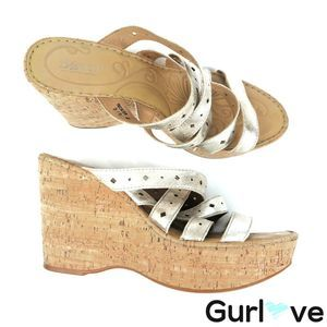 BORN 10 Gold Strappy Wedges Sandals